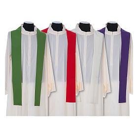 Casula litúrgica 100% poliéster com trigo cruz e uva s8
