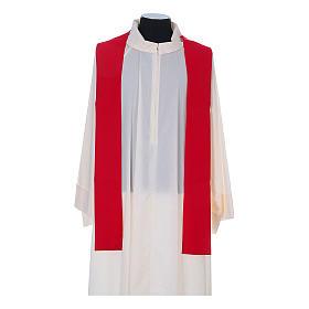 Casula litúrgica 100% poliéster com trigo cruz e uva s10