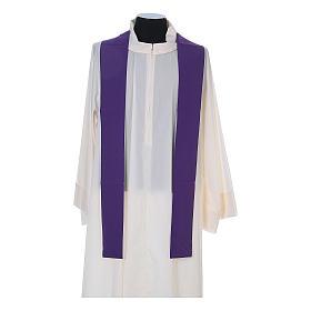 Casula litúrgica 100% poliéster com trigo cruz e uva s12