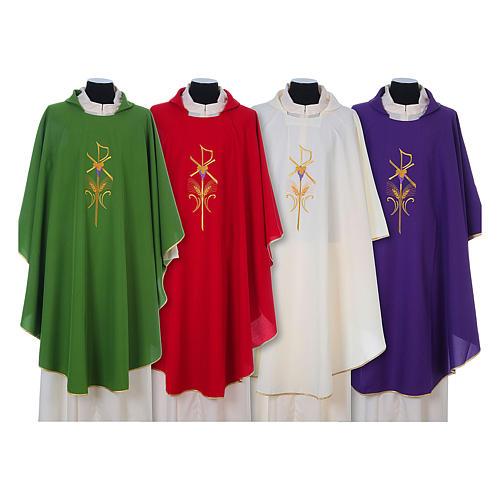 Casula litúrgica 100% poliéster com trigo cruz e uva 1
