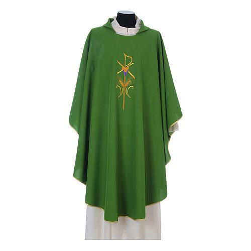 Casula litúrgica 100% poliéster com trigo cruz e uva 3