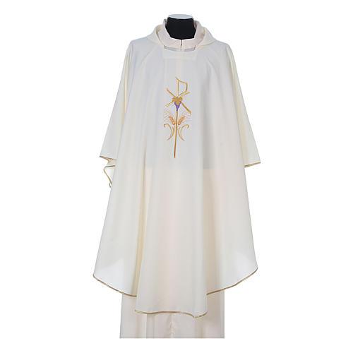 Casula litúrgica 100% poliéster com trigo cruz e uva 5