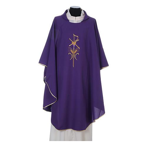 Casula litúrgica 100% poliéster com trigo cruz e uva 6