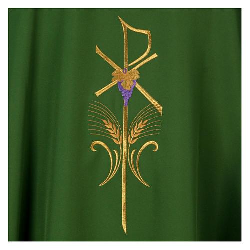 Casula litúrgica 100% poliéster com trigo cruz e uva 7