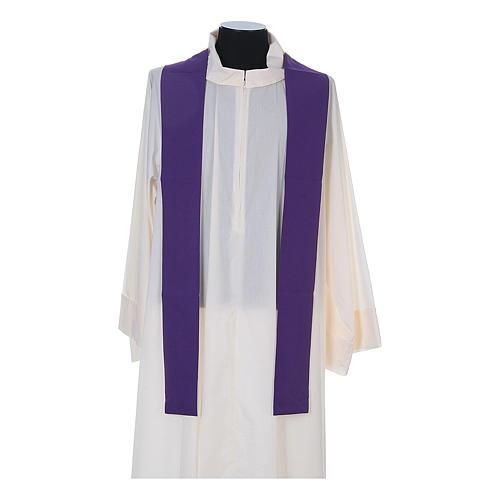 Casula litúrgica 100% poliéster com trigo cruz e uva 12