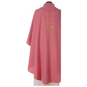 Casulla rosa poliéster IHS cruz estilizada s4