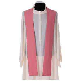 Casulla rosa poliéster IHS cruz estilizada s5