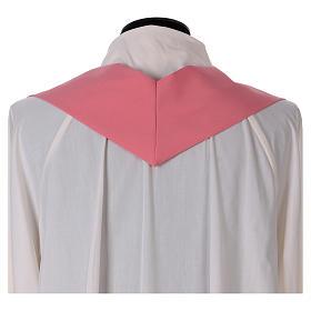 Casulla rosa poliéster IHS cruz estilizada s6