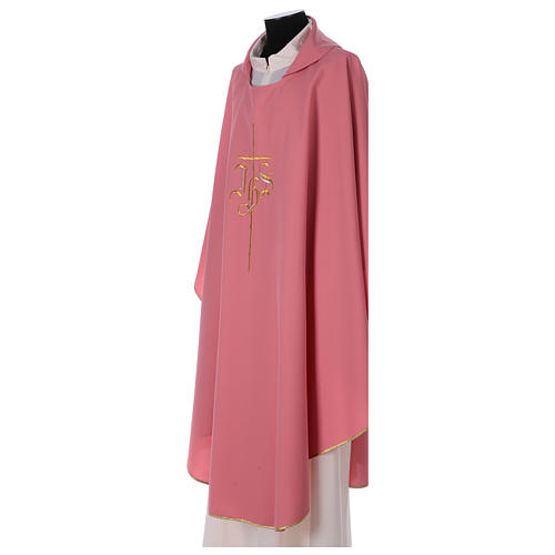 Casulla rosa poliéster IHS cruz estilizada 3