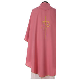 Chasuble rose polyester IHS croix stylisée s4