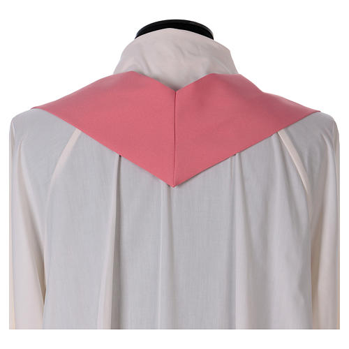 Chasuble rose polyester IHS croix stylisée 6
