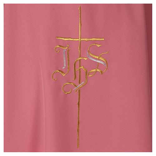 Casula rosa poliestere IHS croce stilizzata rosa 2