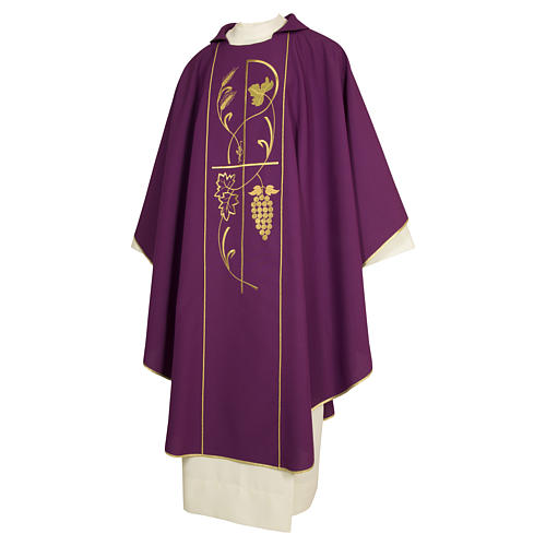 Casula sacerdotale 100% poliestere spighe uva color morello 1