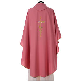 Chasuble in polyester IHS and wheat s4