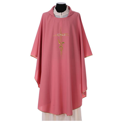 Chasuble in polyester IHS and wheat 1