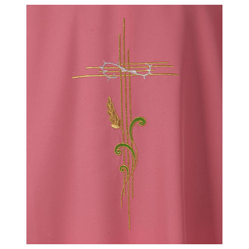 Chasuble in polyester IHS and wheat 2