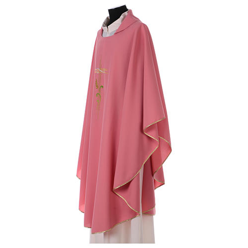 Chasuble in polyester IHS and wheat 3