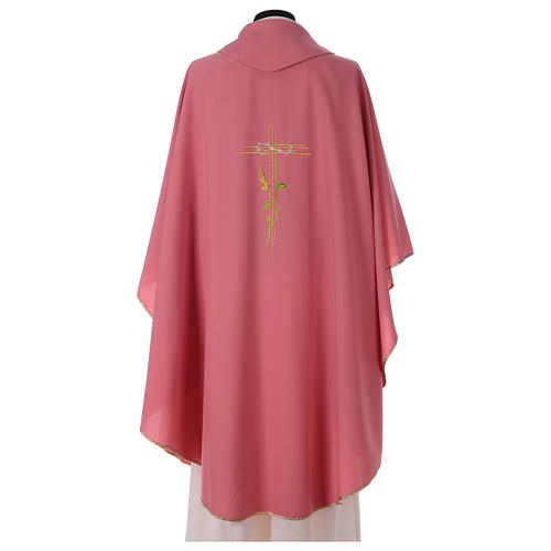 Chasuble in polyester IHS and wheat 4