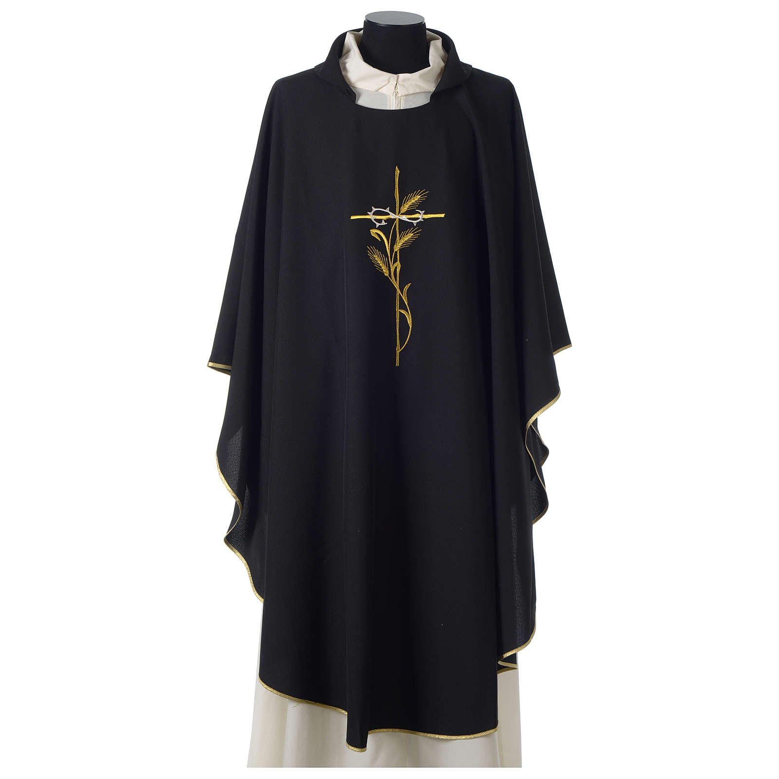 Chasuble in polyester cross wheat crown of thorns embroidery, black 4