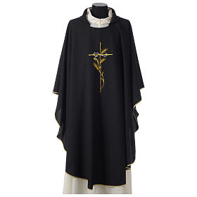 Chasuble in polyester cross wheat crown of thorns embroidery, black s1