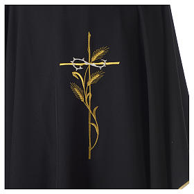 Chasuble in polyester cross wheat crown of thorns embroidery, black s2