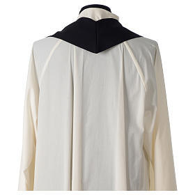 Chasuble in polyester cross wheat crown of thorns embroidery, black s6