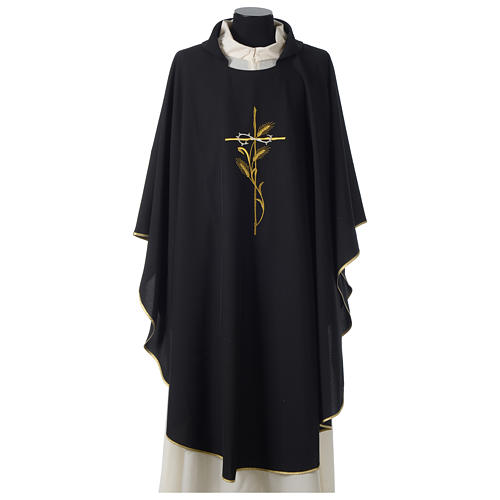 Chasuble in polyester cross wheat crown of thorns embroidery, black 1