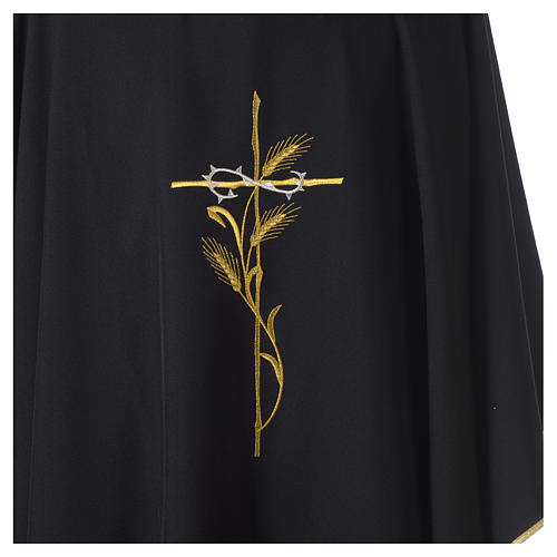 Chasuble in polyester cross wheat crown of thorns embroidery, black 2
