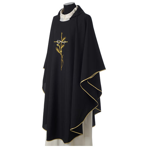 Chasuble in polyester cross wheat crown of thorns embroidery, black 3