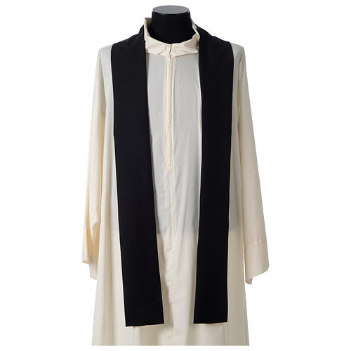Chasuble in polyester cross wheat crown of thorns embroidery, black 5