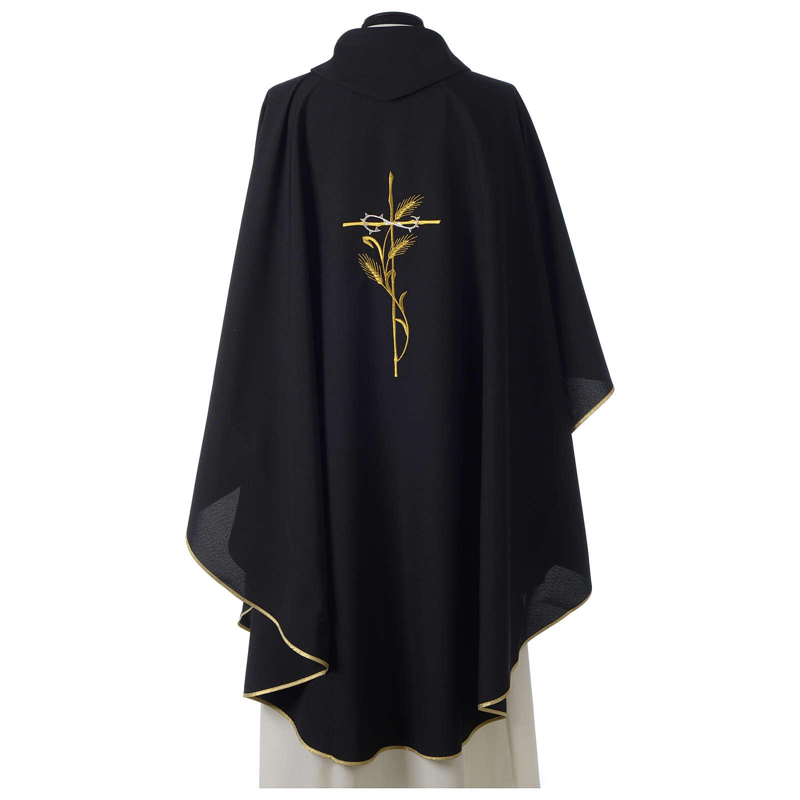 Casulla 100% poliéster bordado cruz espiga corona espinas negro 4