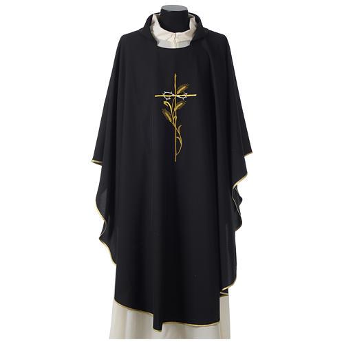 Casulla 100% poliéster bordado cruz espiga corona espinas negro 1