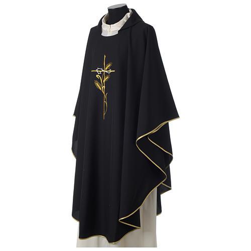 Casulla 100% poliéster bordado cruz espiga corona espinas negro 3
