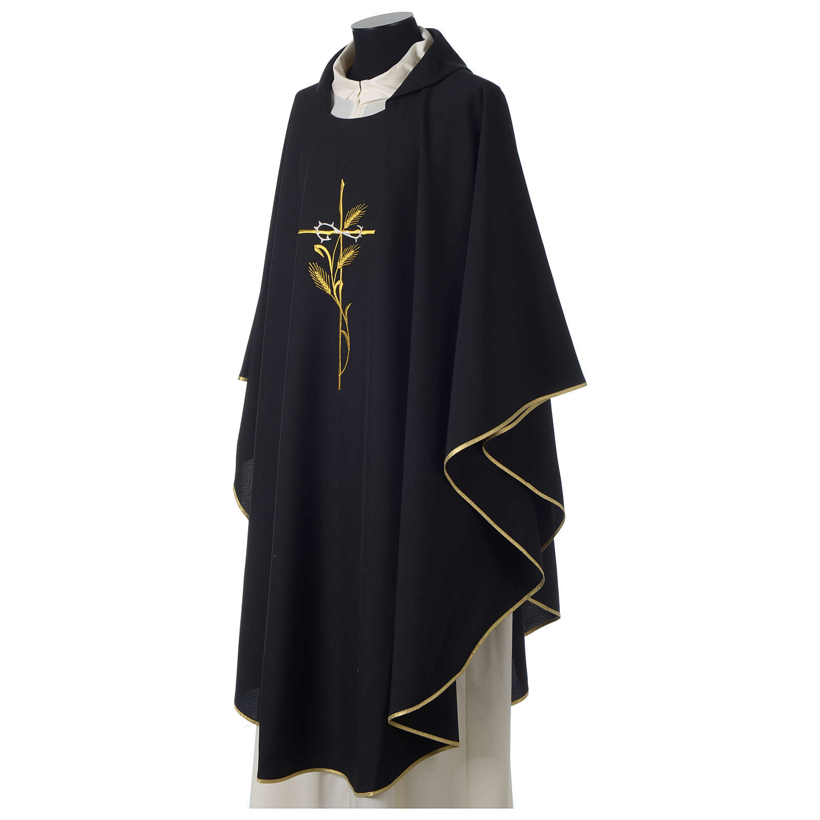 Ornat 100% poliester haft krzyż kłos korona cierniowa czarny 4