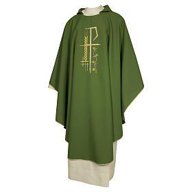 Chasuble sacerdotale 100% polyester croix épis feuille s1