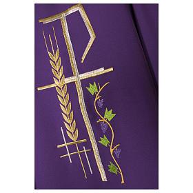 Chasuble sacerdotale 100% polyester croix épis feuille s6