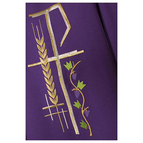 Chasuble sacerdotale 100% polyester croix épis feuille 6