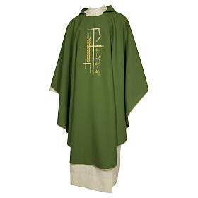 Casula sacerdotale 100% poliestere croce spiga foglia s1