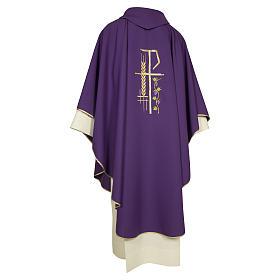 Casula sacerdotale 100% poliestere croce spiga foglia s5