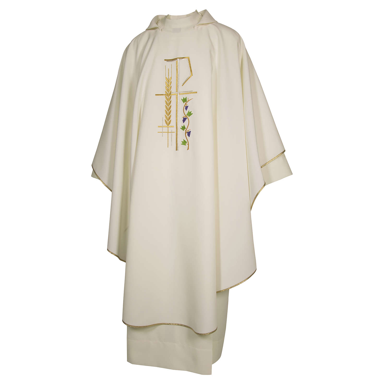 Priest Chasuble with cross wheat and leaf in polyester 4