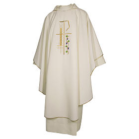 Priest Chasuble with cross wheat and leaf in polyester s3