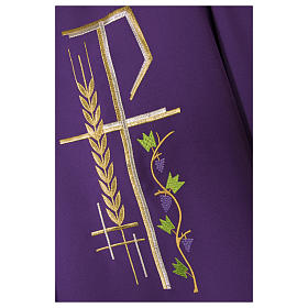 Priest Chasuble with cross wheat and leaf in polyester s6