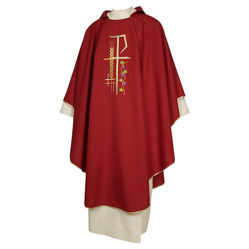 Priest Chasuble with cross wheat and leaf in polyester 2