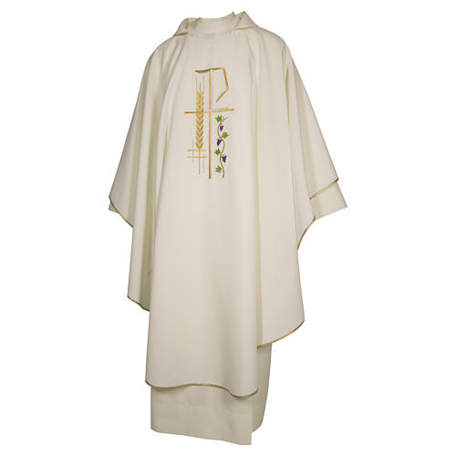Priest Chasuble with cross wheat and leaf in polyester 3