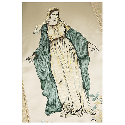Casula sacerdotale 100% pura lana naturale fiori madonna 2