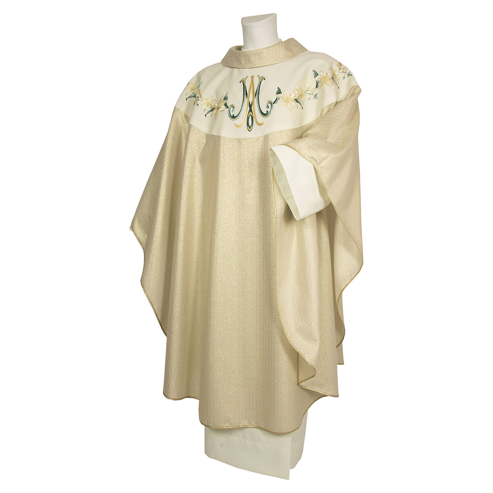 Chasuble 100% wool Marian symbol with flower decorations 4
