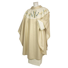 Chasuble 100% wool Marian symbol with flower decorations s1