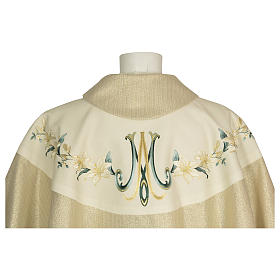 Chasuble 100% wool Marian symbol with flower decorations s3