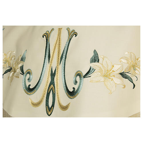 Chasuble 100% wool Marian symbol with flower decorations 2