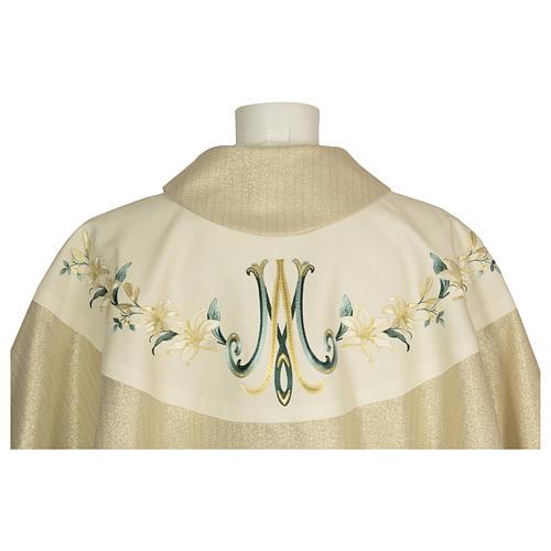 Casula ricamata fiori mariano 100% pura lana naturale 3